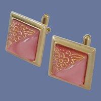 Pink Square Gold Tone Scrolling Cuff Links Cufflinks