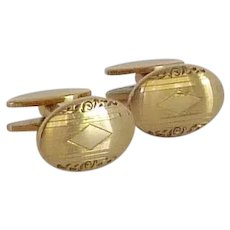 Simmons Gold Tone Oval Initial Cufflinks Cuff Links