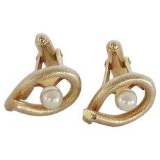 Gold Tone Faux Pearl in Open Cuff Links Cufflinks