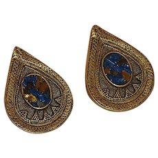 India Look Tear Drop Gold Tone Pierced Earring