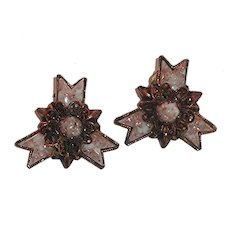 Copper pink Clip On Earrings Mid Century