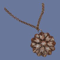 Copper Pink Medallion Type Mid Century Necklace