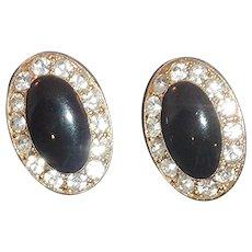 Black Oval Gold Tone Clip-On Earrings Diamond Rhinestones