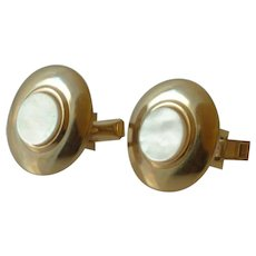 Gold Tone Mother of Pearl Round Cufflinks Cuff Links