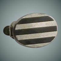 1950-1960 Small Oval Black Stripe Bar Clip for Skinny Tie