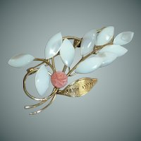 Mother of Pearl Leaves with Small Rose Pin