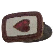 Square Dark Red  Heart Bar Clip for Skinny Tie 1960s