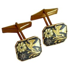 Damascene Gold Tone Cufflinks Cuff Links