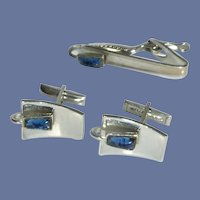 Silver Tone Blue Glass Stone Cuff Links Cufflinks and Tie Bar