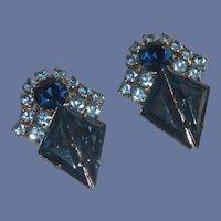 Evening Wear Blue Rhinestone Clip On Earrings