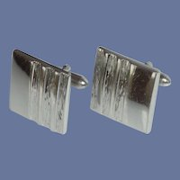 Swank Silver Tone Square Cufflinks Cuff Links
