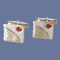 Square Silver Tone with Red Rhinestone Cufflinks Cuff Links