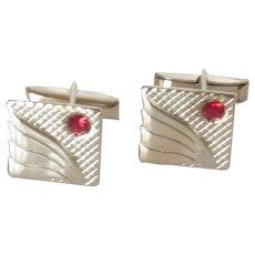 Square Silver Tone with Red Rhinestone Cufflinks Cuff Links