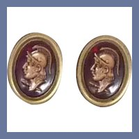 Red Oval Centurion Roman Warrior Cuff Links Cufflinks