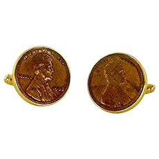 Gold Tone Penny Cuff Links Cufflinks