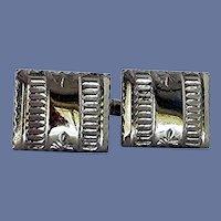 Silver Tone Plain Cuff Links Cufflinks