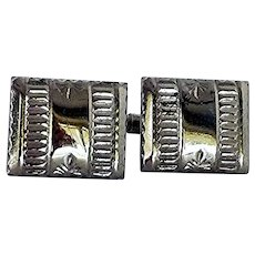Silver Tone Plain Cuff Links Cufflinks