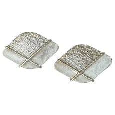 Silver Tone Textured Diamond Shape Cuff Links Cufflinks