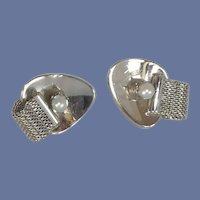 Silver Tone Faux Pearl & Wrap Around Look Cufflinks Cuff Links