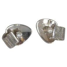 Silver Tone Faux Pearl & Wrap Around Look Cufflinks Cuff Links