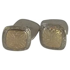 Silver and Gold Tone Square Cufflinks Cuff Links