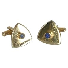 Gold Tone Triangle with Blue Stone