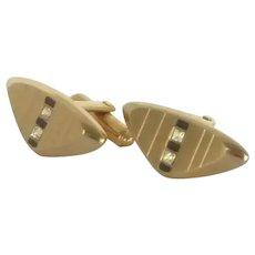 Elegant Hickok Gold Tone Triangle Cufflinks Cuff Links
