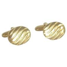 Anson Wave Design Gold Tone Oval Cuff Links Cufflinks