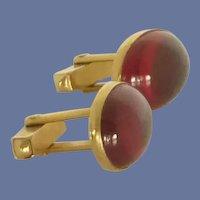Swank Oval Red Glass Gold Tone Cuff Links Cufflinks