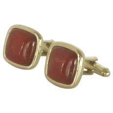 Square Red Glass Gold Tone Cuff Links Cufflinks