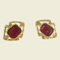 Red Glass Gold Tone Mid-Century Cuff Links Cufflinks