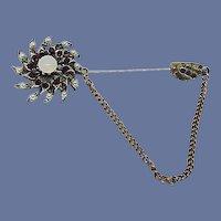 Seed Pearls, Red Rhinestone and Opal Like Jabot Pin