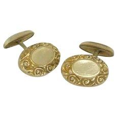 Nouveau Design on Gold Tone Oval Cufflinks Cuff Links