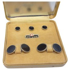 Black Nu-Lok Cuff Links and Stud Set