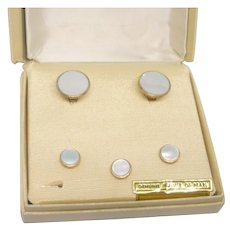 White Mother of Pearl Hickok Cuff Links and Stud Set