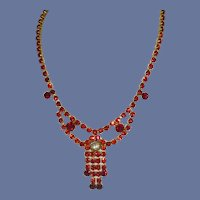 Red Rhinestone Gold Tone Necklace from the 1960's