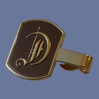 Swank Initial D Gold Tone Brown Tie Clip