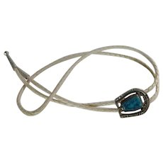 Silver Plate Horse Shoe Turquoise Stone Bolo Tie