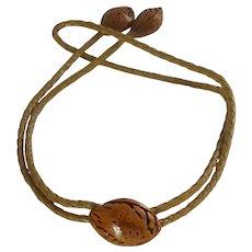 Unique Brown Pecan Shell Bolo Tie