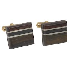 Destino Wood Inlaid Brown Gold Tone Cufflinks Cuff Links