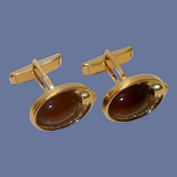 Brown Stone Gold Tone Oval Cuff Links Cufflinks
