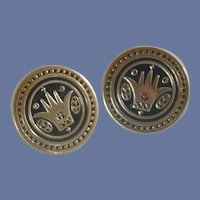Swank Round Gold Tone Crown Design Cuff Links Cufflinks