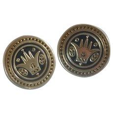 Swank Round Gold Tone Crown Design Cuff Links Cufflinks