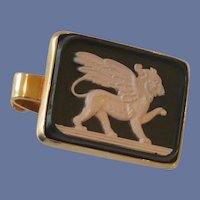 Pink Lion with Wings on Black Tie Clip