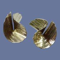 Folded Silver Tone Pierced Earrings