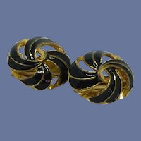 Black Gold Tone Swirl Clip On Earrings