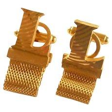 Initial L Dante Gold Tone Wrap Around Cufflinks Cuff Links