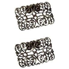 Silver Tone Filigree Metal Design Shoe Buckles Clips