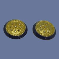 Gold Tone Round Blue Clip On Earrings