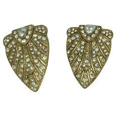 Regal Gold Tone White Diamond Clip On Earrings